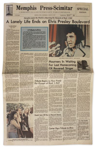 Elvis Presley Newspaper From His Hometown of Memphis -- Dated 17 August 1977 -- ''...The King is Dead...''