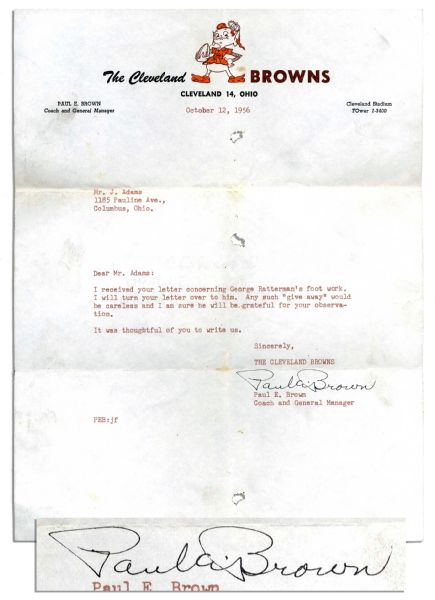 Paul Brown Typed Letter Signed on Cleveland Browns Letterhead -- ''...I received your letter concerning George Ratterman's foot work...Any such 'give away' would be careless...''