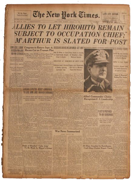 WWII Draws Closer to an End With the Revealing of Terms in 12 August 1945 ''New York Times'' Newspaper -- ''Allies To Let Hirohito Remain...''