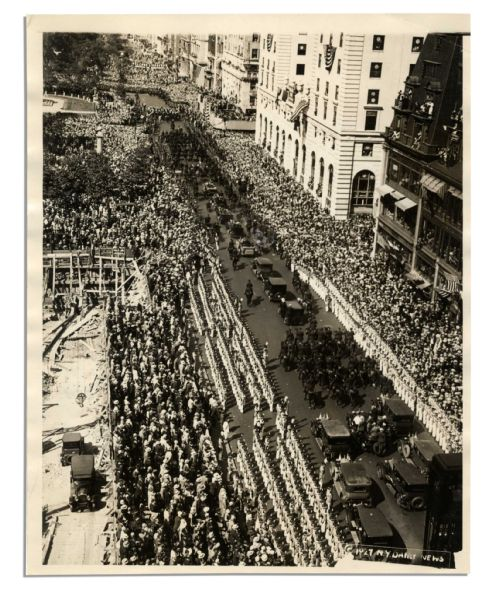 Charles Lindbergh 8'' x 10'' Semi-Matte Press Photo of His NYC Ticker Tape Parade Motorcade -- 13 June 1927 -- Very Good -- From the ''N.Y. Daily News''