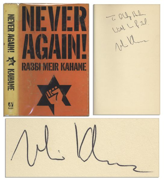 Signed First Printing of Rabbi Meir Kahane's Book ''Never Again!''