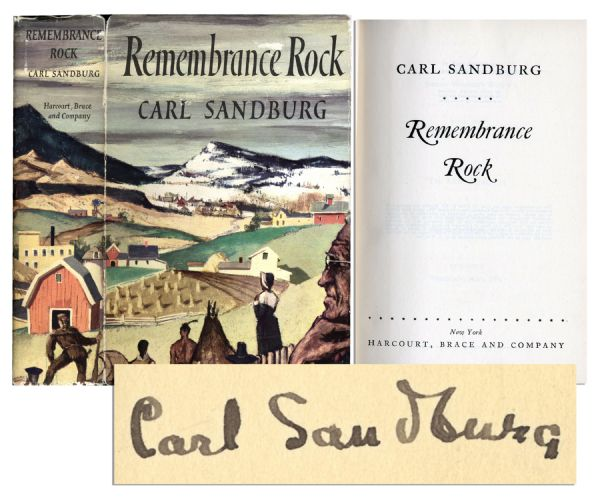 Carl Sandburg Signed First Edition of ''Remembrance Rock''