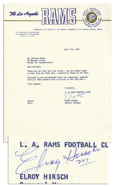 Elroy ''Crazylegs'' Hirsch Typed Letter Signed -- ''...We are always happy to hear from our Rams fans...'' -- 1960