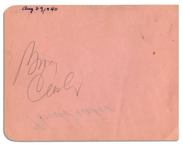Bing Crosby & Thomas Mitchell Each Sign a Side of a 5.75'' x 4.5'' Album Page -- Crosby in Pencil, Mitchell in Pen -- Very Good