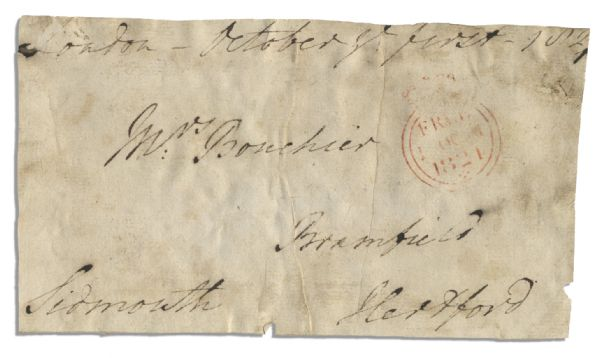 Prime Minister Henry Addington, Viscount Sidmouth Free Frank Signed ''Sidmouth'' -- 1821 -- 6.5'' x 3.5'' -- Foxing & Moisture Exposure -- Good