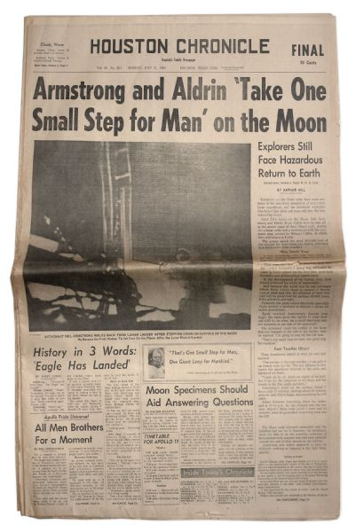 21 July 1969 Edition of the ''Houston Chronicle'' Regarding the Moon Landing -- ''Armstrong and Aldrin 'Take One Small Step for Man' on the Moon'' -- Very Good