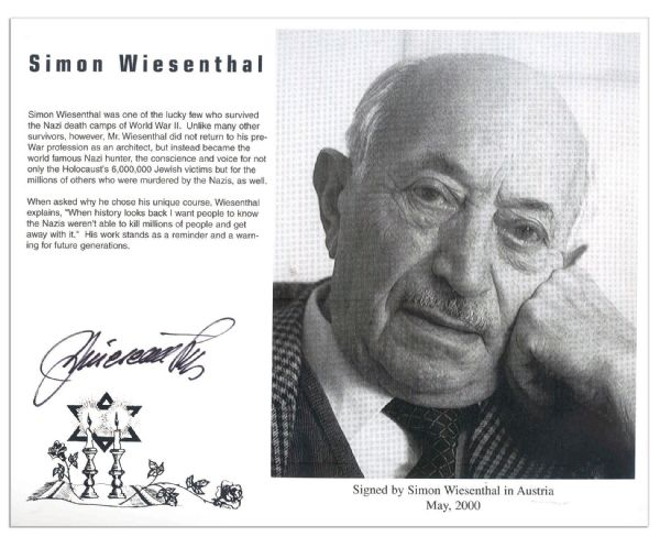 Simon Wiesenthal Signed 10'' x 8'' Glossy Photo