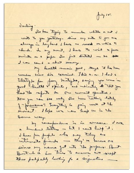 Eisenhower WWII Autograph Letter Signed -- One Month After D-Day: ''...I hear from people who say they are intimate friends - they've become so since my name got into the papers...''