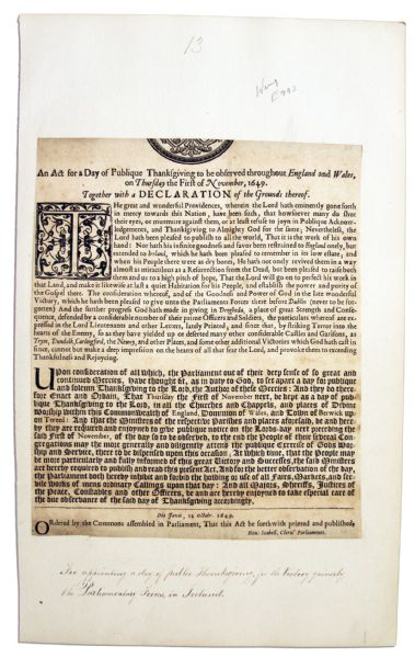 English Civil War 1649 Broadside Issued by Oliver Cromwell's Parliament  Announcing a Day of Thanksgiving