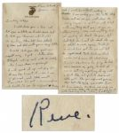 Iwo Jima Flag Raiser Rene Gagnon 1943 Autograph Letter Signed -- ...enclosing two Marine pins...Notice the anchor does not go in the same way as the real one youve got...