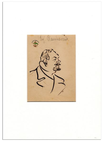 Enrico Caruso Hand-Drawn Caricature on ''Lloyd Sabaudo'' Yacht Line Stationery