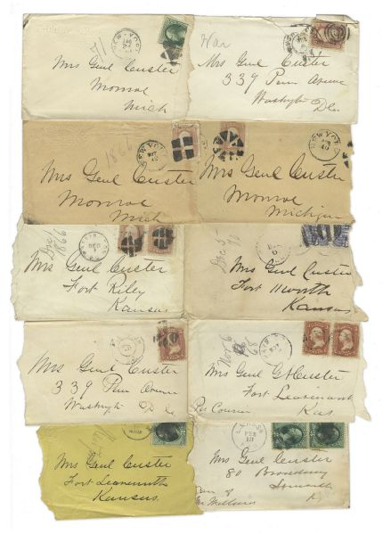 George Custer Lot of 10 Signed Envelopes -- All Letters Addressed to ''Mrs. General Custer''