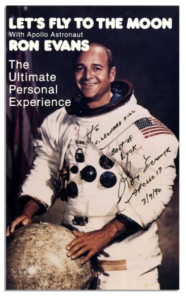 Apollo 17 Astronaut Ron Evans Signed Flyer, ''Let's Fly to the Moon''