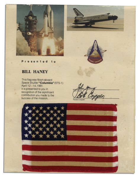 Space-Flown U.S. Flag -- Orbited Earth on the Space Shuttle's First Ever Flight