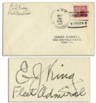 WWII Fleet Admiral Ernest King Cover Signed