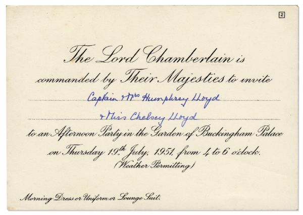 King George VI & Queen Elizabeth Buckingham Palace Invitation -- ''...to an Afternoon Party in the Garden...''