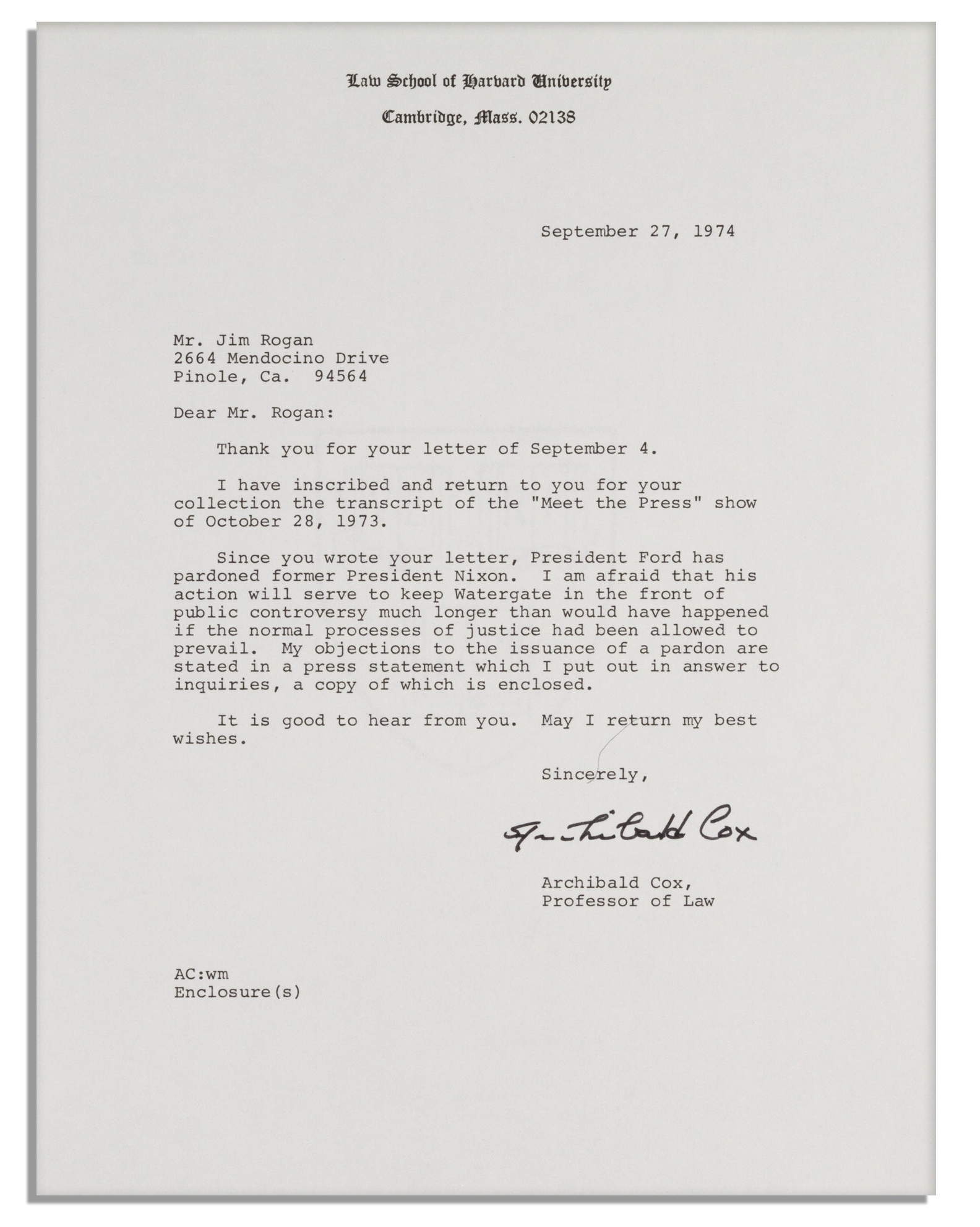 Nixon Resignation Letter - Windenergyinvesting.com