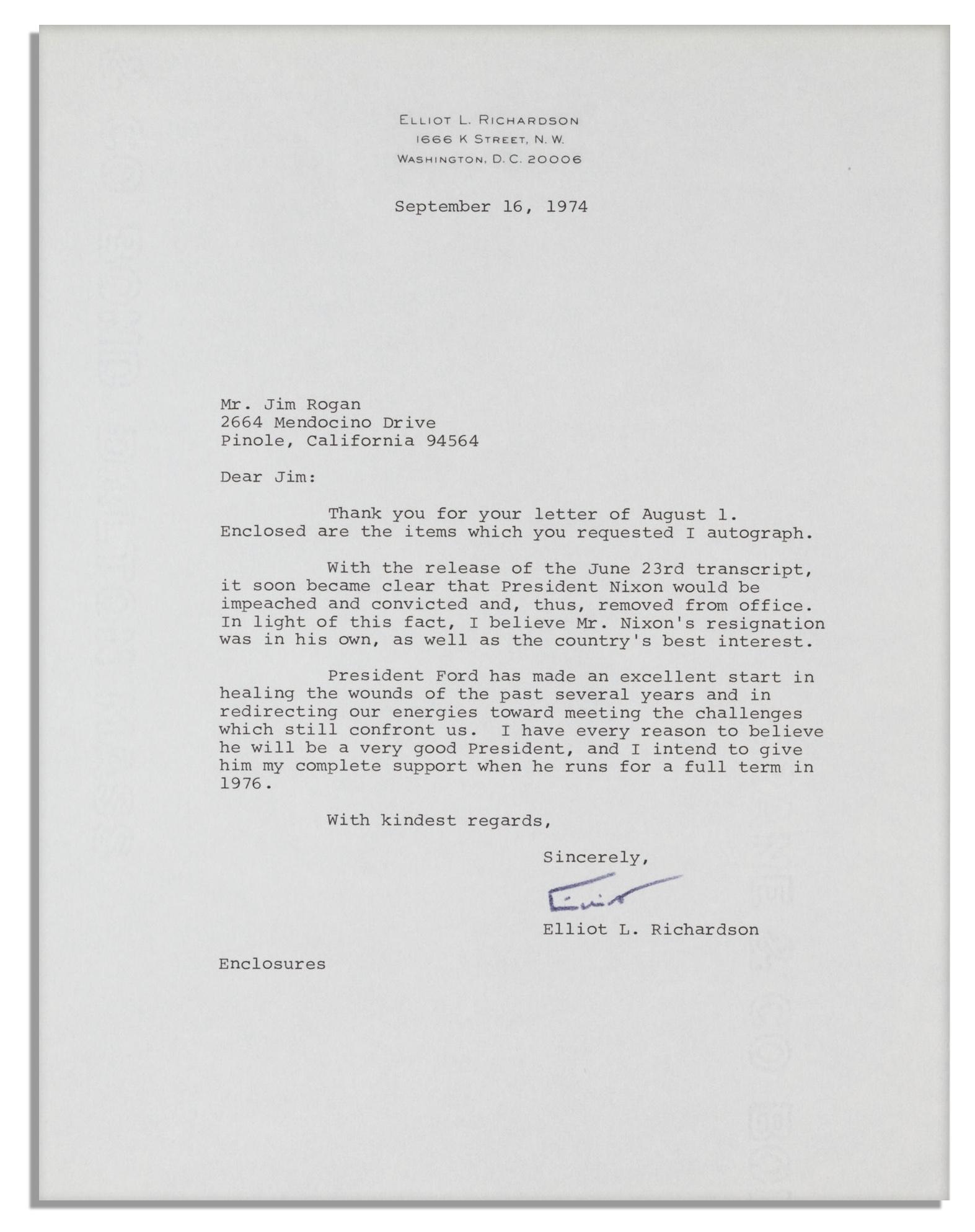 2 Watergate Letters By Archibald Cox U0026 Elliot Richardson    U0027u0027.  Nixon Resignation Letter