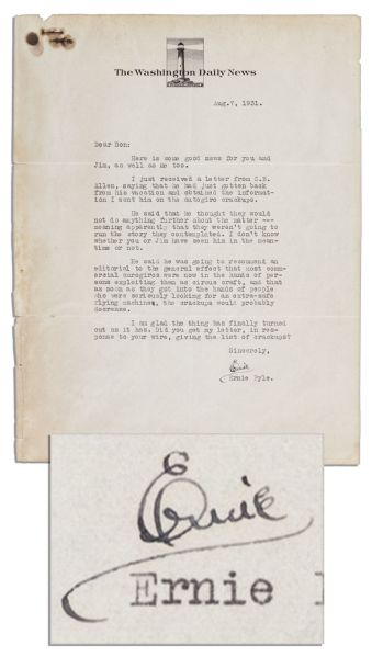 Pulitzer-Prize-Winning Journalist Ernie Pyle Typed Letter Signed