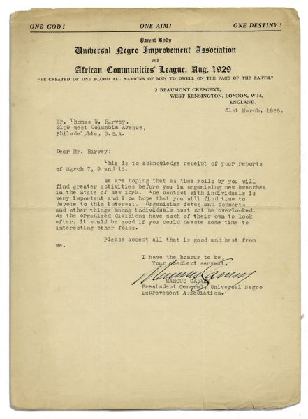 Marcus Garvey Letter Signed on Universal Negro Improvement Association Letterhead as Its President -- ''...it would be good if you could devote some time to interesting other folks...''