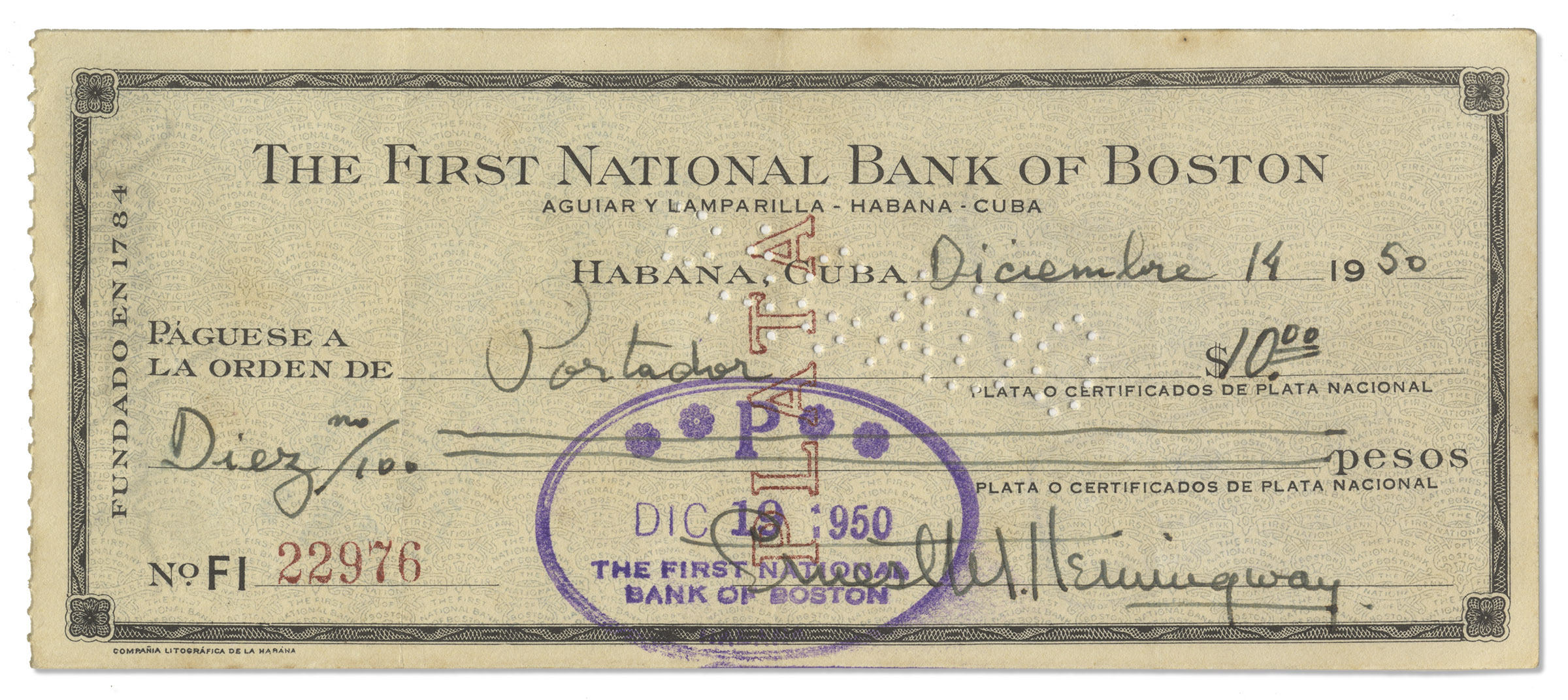 Lot Detail Ernest Hemingway Signed Check From 1950 Filled Out - Check-filled-out