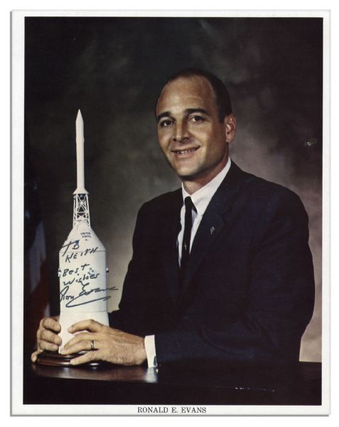 Ronald Evans 8'' x 10'' Photo Signed -- Evans Flew as Command Module Pilot of Apollo 17, the Last Manned Mission to the Moon