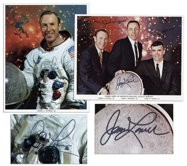 Pair of James Lovell 8'' x 10'' Photos Signed -- One Photo of Lovell in His Spacesuit & One Crew Photo of the Apollo 7 Astronauts in Civilian Suits