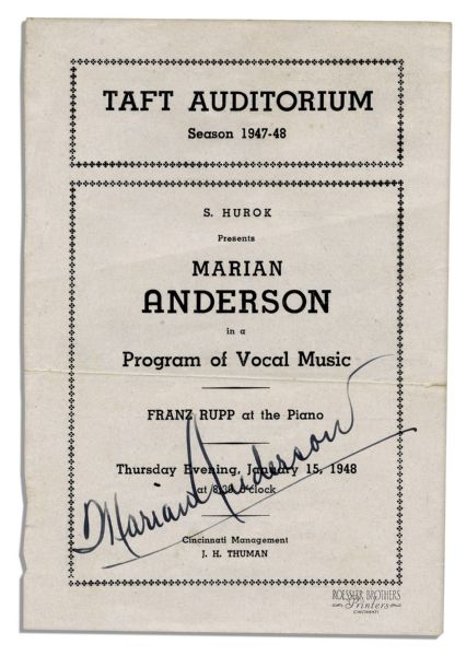 Legendary Vocalist Marian Anderson Program Signed
