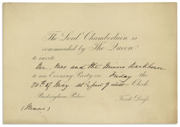 1842 Royal Invitation to Queen Victoria's Buckingham Palace