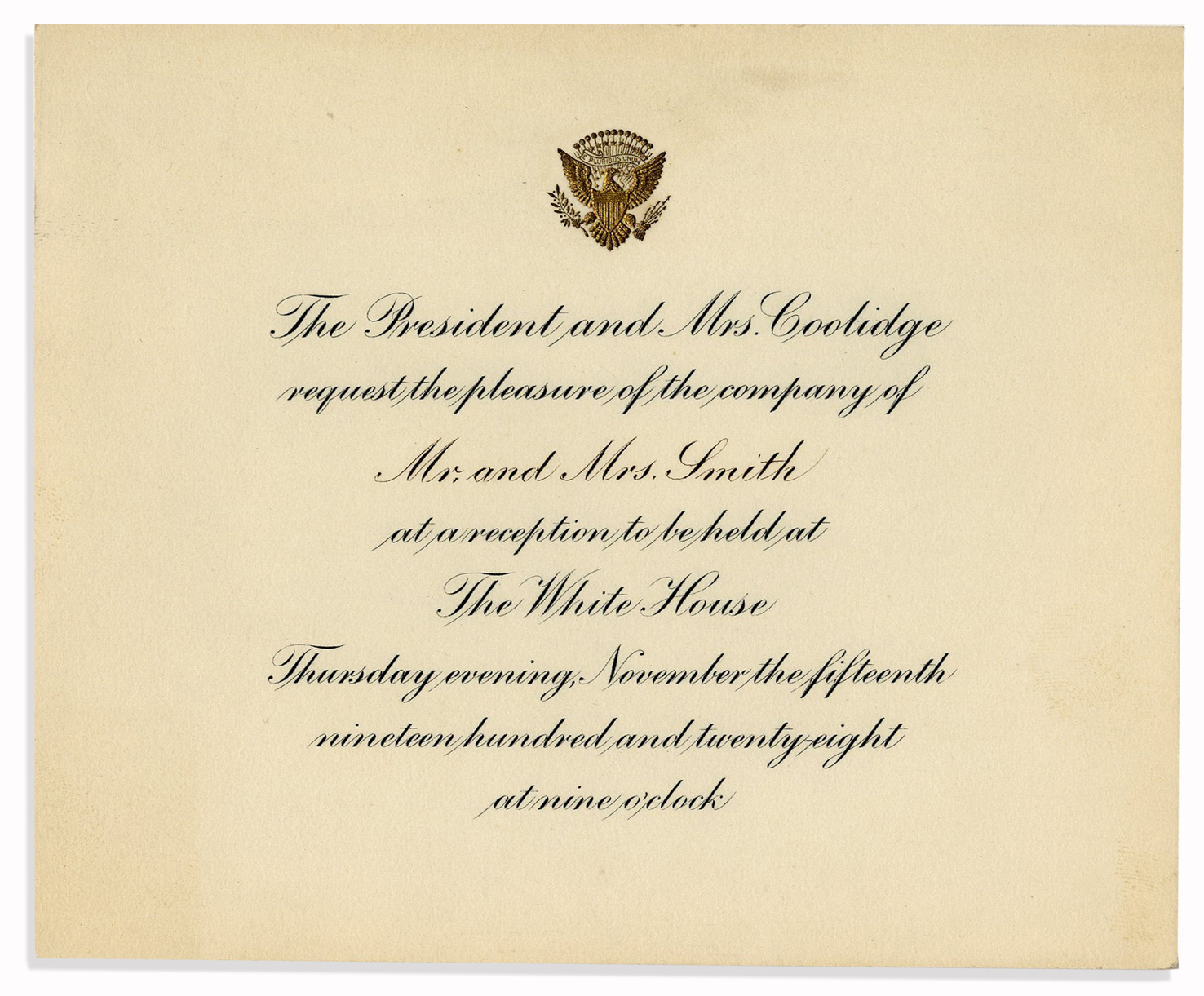 Lot detail calvin coolidge invitation to dinner at the white house calvin coolidge invitation to dinner at the white house stopboris Choice Image