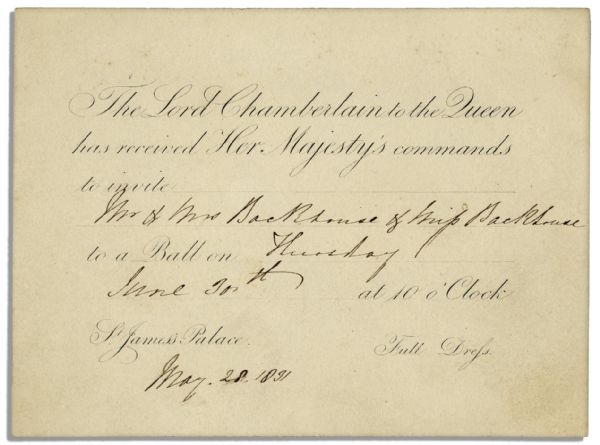 Invitation to a Royal Ball Held at King William IV & Adelaide's St. James' Palace