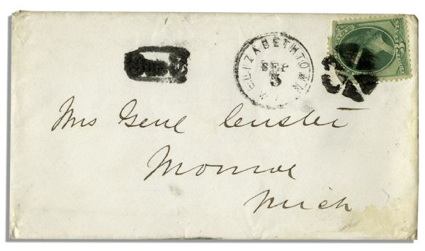 George Custer Autograph Envelope Made Out to His Wife ''Mrs. Genl Custer''