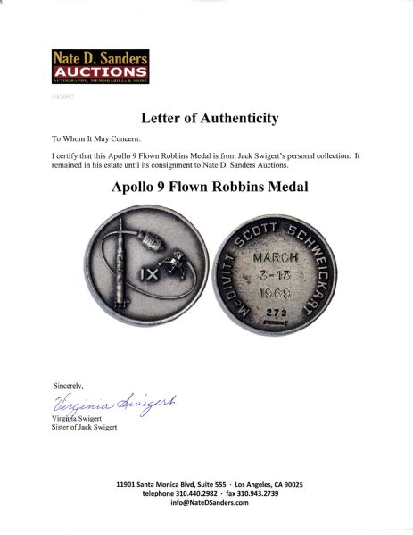 Jack Swigert's Personally Owned Apollo 9 Flown Robbins Medal -- Serial #273