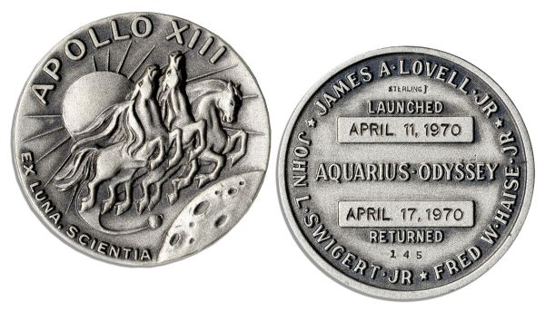 Jack Swigert's Personally Owned Apollo 13 Flown Robbins Medal -- Serial Number 145