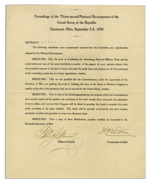 Resolution From 1898 Regarding the Gettysburg National Military Park -- Signed by Two Civil War Veterans