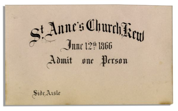 Princess Mary Adelaide of Cambridge & Prince Francis Duke of Teck 1866 Wedding Ceremony Ticket