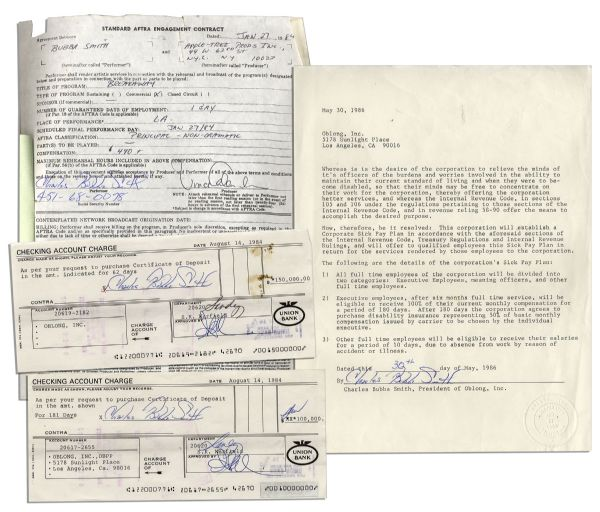 NFL Legend Bubba Smith Lot of Signed Documents -- Relating to His Finances & Acting Career