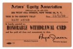 Mary Astors Union Card, Given to Her Upon Her Retirement -- From the Actors Equity Association