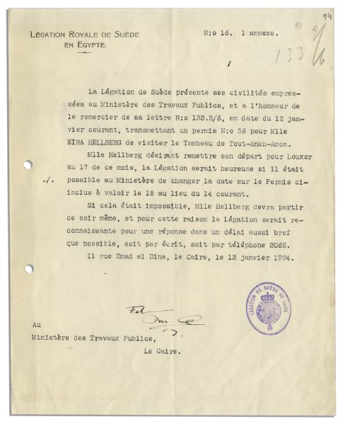 Letter Regarding a Foreign Visitor to King Tut's Tomb in 1924 -- ''...license...to visit the Tomb of Tout-Ankh-Amon...''
