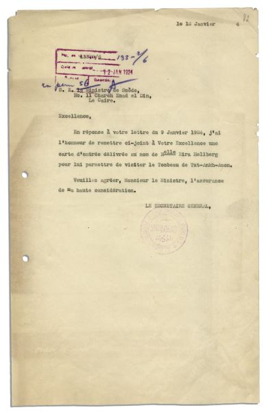 Letter From the Swedish Legation to the Egyptian Government Regarding a Foreign Visitor to King Tut's Tomb in 1924