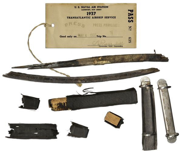Collection of Items From the Hindenburg Disaster -- Includes Debris & Press Pass From the Day of the Disaster