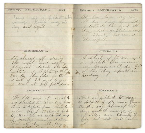 Civil War Diary From Maine 1st Cavalryman -- Extensive Battle Content on the Overland Campaign --  ''...we lost 70 men...Our prisoners went out today to bury our dead at Reams Station...''