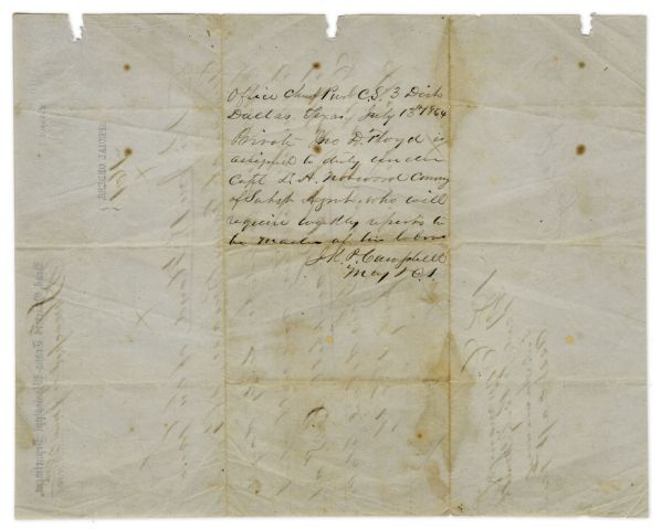 Texas Cavalry Special Orders From 1864 -- For a Private in Gano's Guards of Gano's Brigade