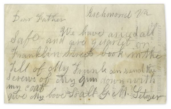 Confederate KIA Soldier in the 18th Virginia Infantry Writes Two Notes to His Father -- ''...If we get in a fight I will let you know directly...''