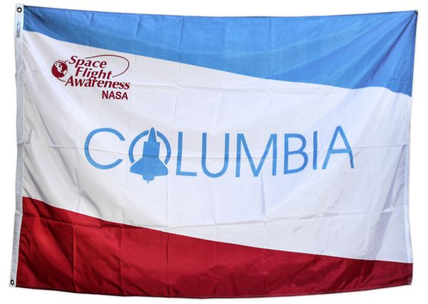Large Commemorative Columbia Space Shuttle Flag -- Fine