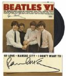 Paul McCartney Signed Beatles Record -- McCartney Signs First Pressing of Beatles Album Beatles VI