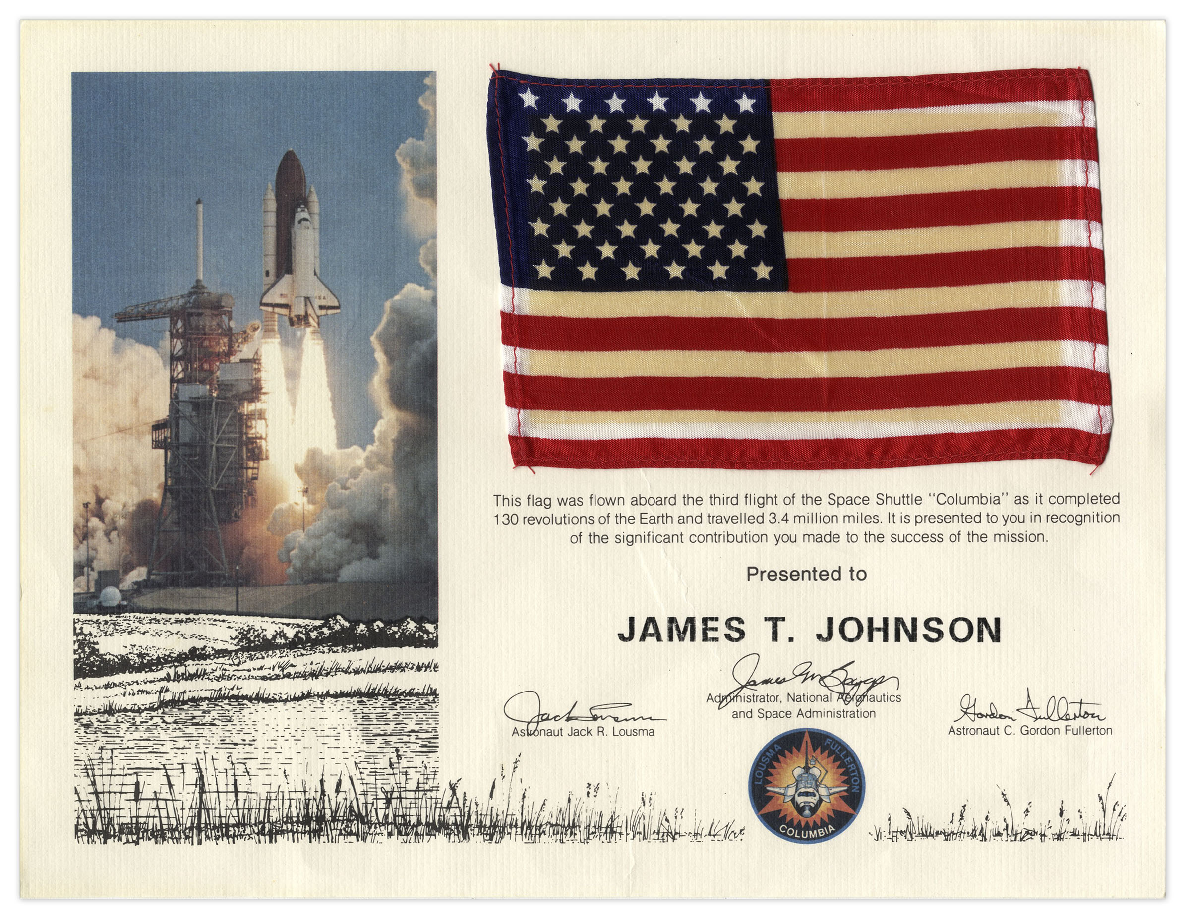 Lot Detail - Columbia Space Shuttle Flag Flown Aboard the ...