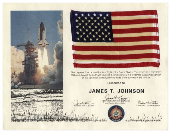 Columbia Space Shuttle Flag Flown Aboard the STS-3 Mission in 1982
