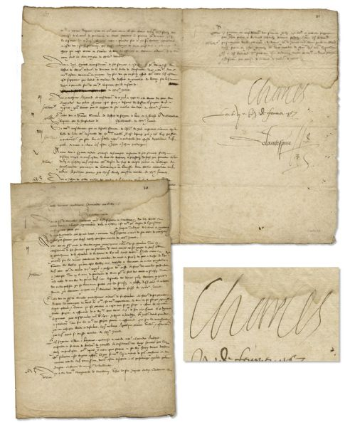 Charles IX, King of France, Document Signed From 1567, Seven Years Into His Reign