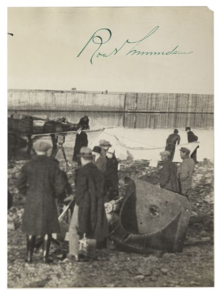 Roald Amundsen Signed Photograph -- Showing His Crew Dismantling the Famed ''Norge'' Aircraft